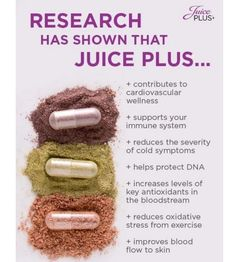 Clinical research has showcased the benefits of adding Juice Plus+ to your diet. More than 30 Juice Plus+ research studies have been conducted in leading hospitals and universities around the world, including: