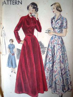 1951 Vogue 6656 sewing pattern for a house coat   Gorgeous!  UK Seller