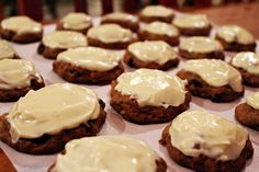 Carrot cake cookies topped with cream cheese icing. Both infused with cannabis.