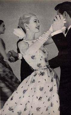 White Sprigged Evening Dress, 1955. #vintage #1950s #fashion