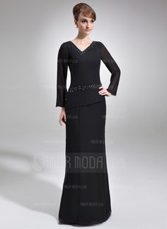 Mother of the Bride Dresses - $162.99 - Sheath/Column V-neck Floor-Length Chiffon Mother of the Bride Dress With Beading (008005953) http://amormoda.com/Sheath-Column-V-neck-Floor-length-Chiffon-Mother-Of-The-Bride-Dress-With-Beading-008005953-g5953
