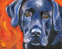 BLACK LAB Dog Signed Art Print by Artist DJ Rogers