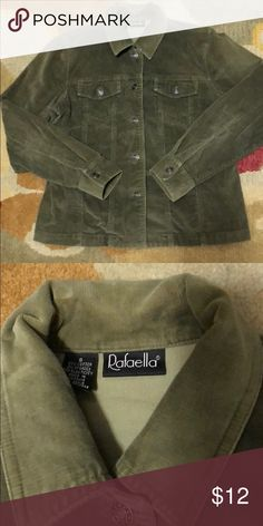"""Cute Sage green corduroy jean jacket S RAFAELLA brand cute jeans jacket with silver hardware in a light weight sage green corduroy. No flaws but the normal wash and wear in corduroy which makes it look like flaws like streaks or lines that don't take away the beauty of this cute jacket! Wear it with distressed jeans...NICEEEE vintage look😉😍  Size small Measures 18"""" across armpit to armpit Sleeve length from shoulder seam to cuff hem 22"""" Ragaella Jackets & Coats Jean Jackets"""