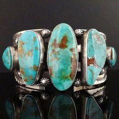 Native Navajo Heavy Sterling Silver 5 Stone Royston Turquoise Cuff Bracelet S6 5 | eBay