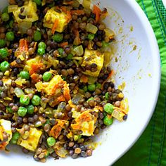 Curried Lentils and Paneer     Recipe: http://www.sunset.com/food-wine/fast-fresh/easy-indian-recipes-00418000077707/