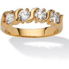 PalmBeach CZ Cubic Zirconia Wedding Band Classic CZ ($18) ❤ liked on Polyvore featuring jewelry, rings, palm tree jewelry, cz jewelry, beach rings, beach jewelry et wedding rings