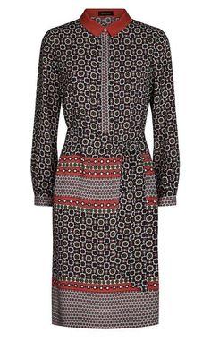 Jaeger Silk Tile Print Shirt Dress Paprika