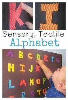 Sensory, Tactile Alphabet Poster - My Mundane and Miraculous Life Letter Activities, Preschool Learning Activities, Toddler Learning, Sensory Activities, Fun Learning, Preschool Activities, Sensory Kids, Multi Sensory, Sensory Table