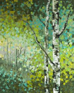 """Little Seeds"" Original Acrylic Aspen / Birch Tree Acrylic Painting by Canadian…"