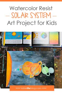 Looking for an art project to do while studying space with your kids? I've got a fun and easy solar system art project for you today. Space Activities For Kids, Science For Kids, Art Activities, Art For Kids, Science Art, Classroom Art Projects, Projects For Kids, Science Projects, Kid Friendly Paint
