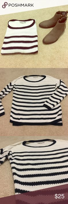 Loft Black White Knit Striped Sweater Excellent condition! Only worn twice! Great for fall, very on trend. Would look great with ripped jeans and booties! LOFT Sweaters