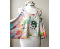 Hand dyed Oversize Loose Top SIZE S M L Cami YIN YANG Symbol