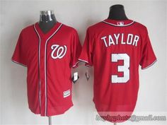 MLB Washington Nationals #3 Michael Taylor Red Jersey