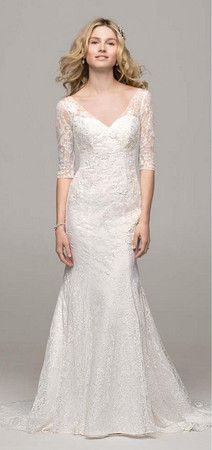 David's Bridal Collection 3/4 Sleeve All Over Lace Trumpet Gown Style WG3684 #davidsbridal #weddingdress #fallweddings