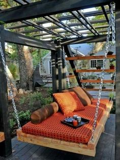 60 Cozy Backyard Hammock Ideas For Perfect Summer - decoration Backyard Hammock, Cozy Backyard, Backyard Landscaping, Cozy Patio, Patio Swing, Hammock Bed, Diy Swing, Patio Hammock Ideas, Patio Bed
