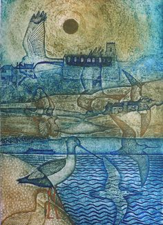 Salthouse Littoral - collagraph - Laurie Rudling, U.K.