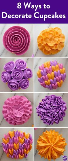 8 Ways to Decorate Cupcakes with Wilton Tip 104 - Let us count the ways we love icing tip Try all 8 of easy cupcake decorating technique—each done using just one petal tip. Keep petal tip no. 104 handy to try all of these impressive flower cupcakes, Frost Cupcakes, Cupcakes Flores, Flower Cupcakes, Icing Cupcakes, Cupcake Icing Designs, Teal Cupcakes, Cupcake Icing Tips, Birthday Cupcakes, Buttercream Frosting