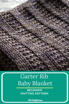 This knitting rib pattern is so easy to knit. Only knits and purls in your favorite dk or worsted weight yarn. There's nothing better. Get your free knitting pattern. Easy Blanket Knitting Patterns, Easy Knit Baby Blanket, Free Baby Blanket Patterns, Beginner Knitting Patterns, Knitted Baby Blankets, Knitting For Beginners, Knitting Tutorials, Knitting Designs, Knitting Projects