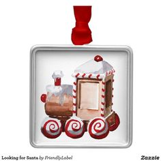 Looking for Santa Square Metal Christmas Ornament