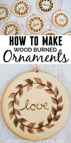 Make these beautiful wood burned ornaments for your Christmas tree this year. They are easy to make and will add a bit of a rustic flair to your holiday decor. Since they are handmade, they make a thoughtful gift for friends or family. Wood Burning Tool, Wood Burning Crafts, Wood Burning Patterns, Wood Crafts, Wooden Christmas Ornaments, Wood Ornaments, Christmas Crafts, Dough Ornaments, Christmas Tree