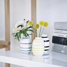 The three small miniature vases from the Omaggio series are an exact down scale of the series' largest floor vase.