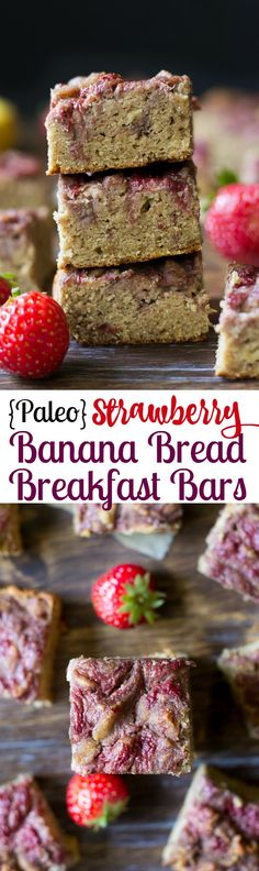 Paleo Strawberry Banana Bread Breakfast Bars that are grain free, Paleo, seriously delicious and very kid friendly! Paleo Sweets, Paleo Dessert, Gluten Free Desserts, Dessert Recipes, Strawberry Banana Bread, Strawberry Cakes, Strawberry Recipes, Real Food Recipes, Yummy Food
