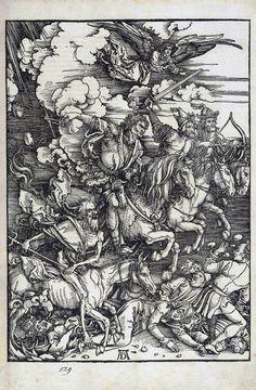 """""""Os Quatro Cavaleiros do Apocalipse"""", madeira por Albrecht Durer (1471-1528…"""