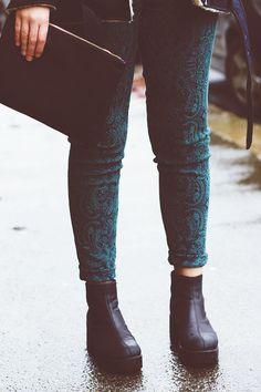 green paisley print trousers