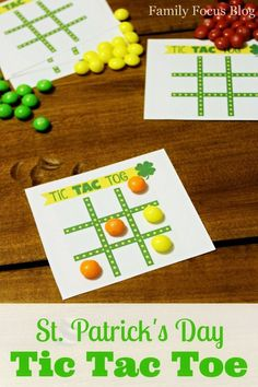 Free Printable St. Patrick's Day Tic Tac Toe Game perfect for class room parties