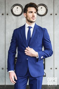 Men's Navy Royal suit in a solid blue color. Great for Thanksgiving and the holidays.