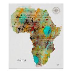 母なる大地、 #アフリカ の地図。落ち着いた色合いがいい味出しています。 #zazzle