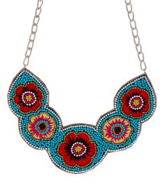 Look what I found on #zulily! Red & Blue Floral Bead Bib Necklace by ZAD #zulilyfinds