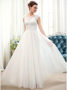 A-Linie/Princess-Linie U-Ausschnitt Bodenlang Tüll Spitze Brautkleid mit Perlen verziert Blumen Pailletten