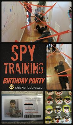 Awesome ideas for a spy training birthday party. Love the laser maze! This one has some great ideas!