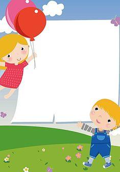 Kids Background, Cartoon Background, Happy Children's Day, Happy Kids, Photo Frames For Kids, Blue Flower Wallpaper, Boarder Designs, School Frame, Birthday Frames