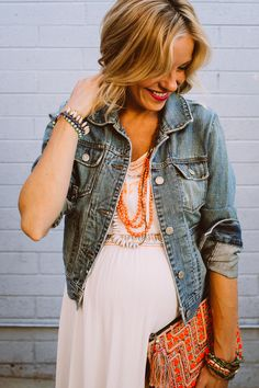 denim jackets with pops of color // maternity style #fall