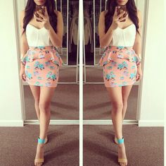 Floral skirt with white bustier
