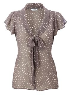 Spotty pussy bow blouse