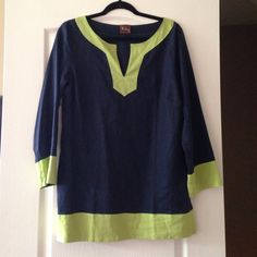 NWOT Boutique Blue/green Linen Tunic. Size 12. Brand New, Never Been Worn. Blue and Lime Green Tunic from local high end boutique. 55% Linen. 45% Rayon. Size 12. Haley Tops Tunics