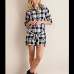 fdc20692b921 This trendy Lightweight Shirt Dress is a Navy Plaid with rolled up sleeves