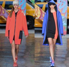 DKNY 2014 Spring Summer Womens Runway Collection - New York Fashion Week - Denim Jeans Overalls Patchwork Oversized Coats Parkas Pastels Spo...
