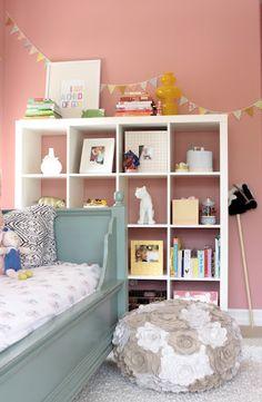 """i am a child of God"" Ikea Expedit Bookcase, Ikea Shelves, Bookcase Shelves, Shelving, Ideas Habitaciones, Shelf Inspiration, Shelves In Bedroom, Little Girl Rooms, Kid Spaces"