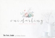 Hand Drawn Style Floral Logo Design for website logo, blog logo, boutique logo, restaurant logo, creative business branding or small business logo.