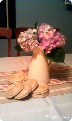 DIY Jute coasters, runner and placemats....I cant wait to make these for my backyard.
