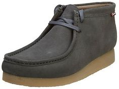 Clarks Stinson Hi Mens 26107664-CHARCOAL Grey Suede Wallabee Boots Size 9.5