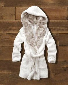 A&F Gift Guide // Womens Hooded Faux Fur Robe: Supercozy with all-over faux fur with contrast interior at hood, featuring front pockets and a tie at waist // abercrombie.com
