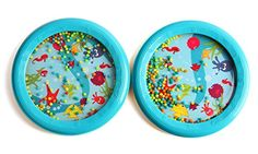 """Foraineam 2 Pack Musical Toys 7"""" Ocean Waves Drum Surf Drum, Gift Ideals  Safe for 6+ months  A great way to introduce your little one to music through play  Enticing to touch and perfect to pitch  Perfect sight and sound starter for babies  Gentle sound of soothing ocean waves"""