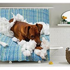 Naughty Playful Puppy Dog Shower Curtain Set 75 Inches Long Blue White Brown