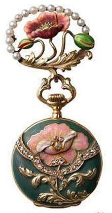 ART NOUVEAU VACHERON LADY'S 18K YELLOW GOLD ENAMEL, PEARL & DIAMOND-SET PENDANT WATCH