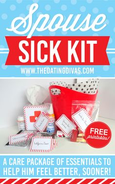 Have a pre-made sick kit full of essentials, to give your spouse when they're feeling under the weather. www.TheDatingDivas.com